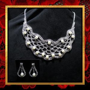 NWOT Rhinestone & Pearl Necklace Set   #JWL-720